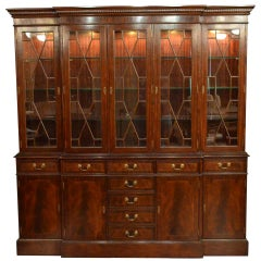 Large Mahogany Georgian Style Five Door Bookcase China Cabinet by Leighton Hall