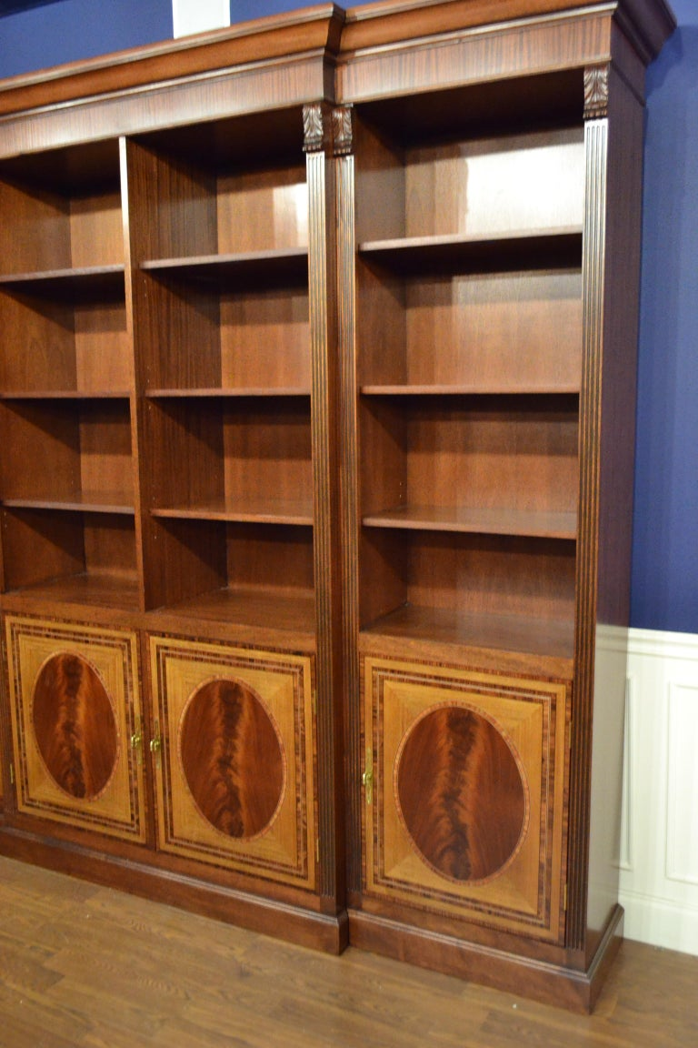 American Large Mahogany Georgian Style Four-Door Bookcase by Leighton Hall For Sale