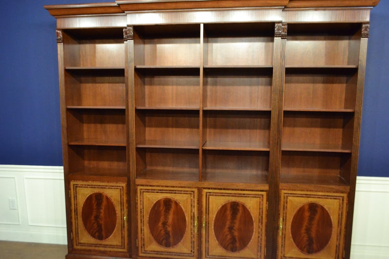 Large Mahogany Georgian Style Four-Door Bookcase by Leighton Hall For Sale 2