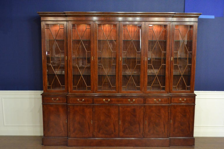 Large Mahogany Georgian Style Six-Door Bookcase China Cabinet by Leighton Hall For Sale 5