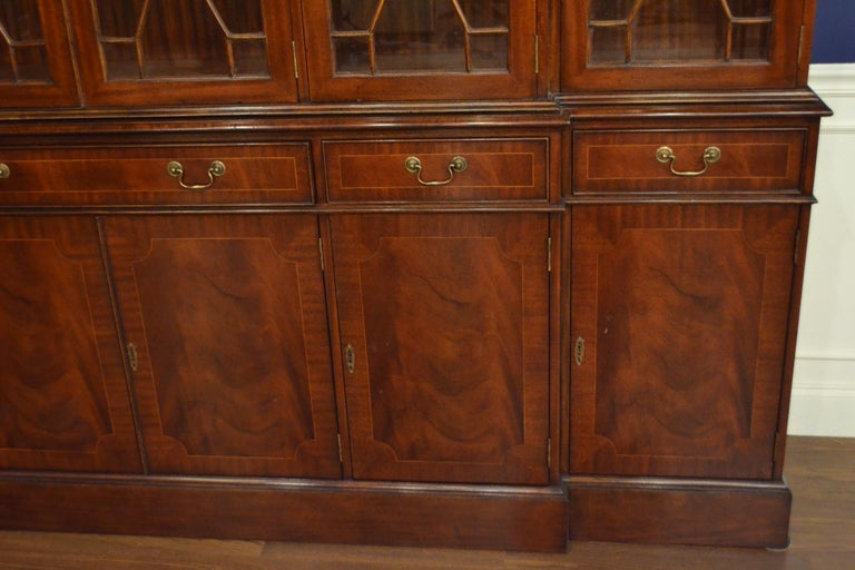 American Large Mahogany Georgian Style Six-Door Bookcase China Cabinet by Leighton Hall For Sale