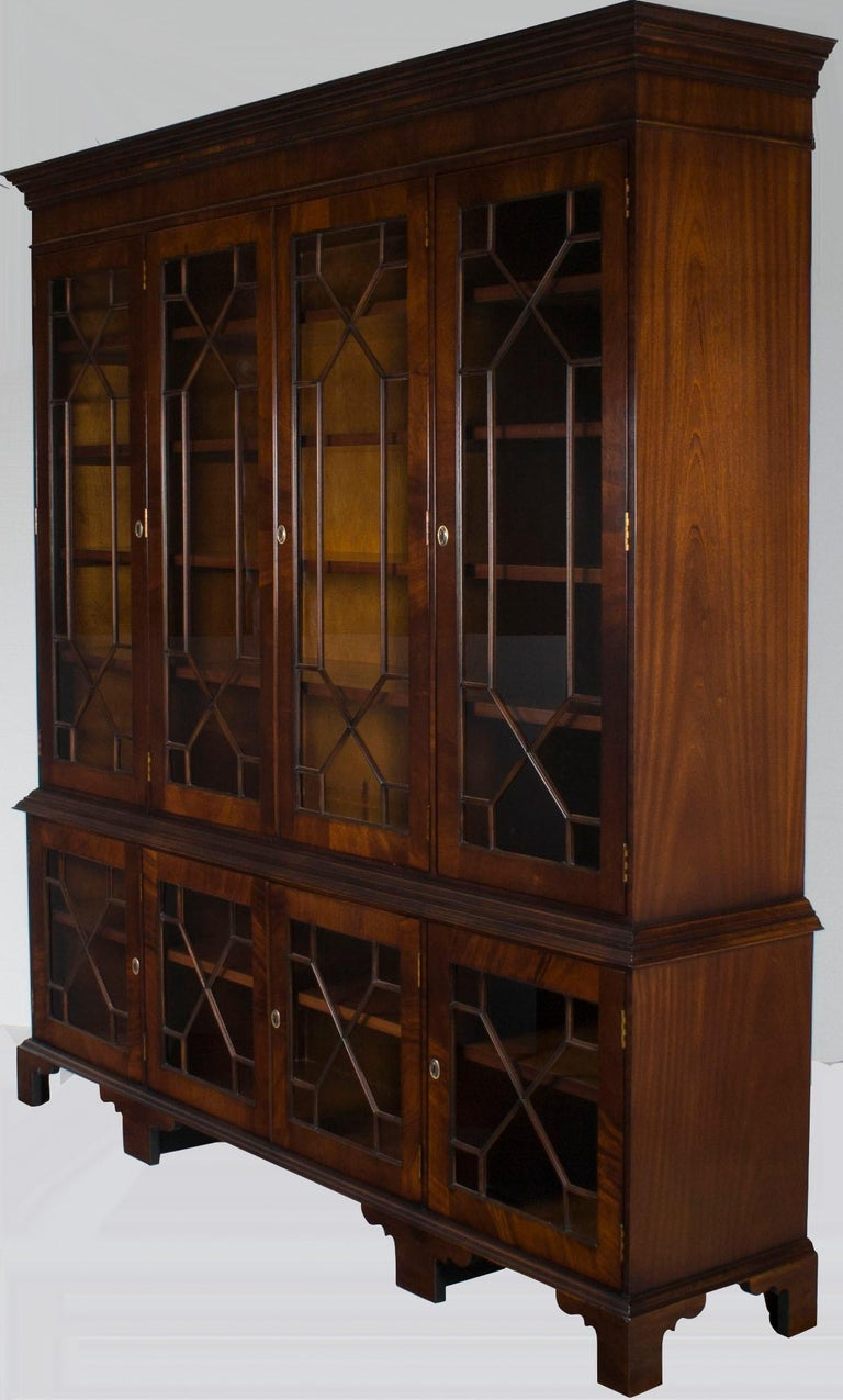 Large Mahogany Glass Door Breakfront Bookcase Cabinet For Sale at 1stdibs