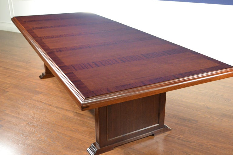 Modern Large Mahogany Rectangular Conference Table by Leighton Hall For Sale
