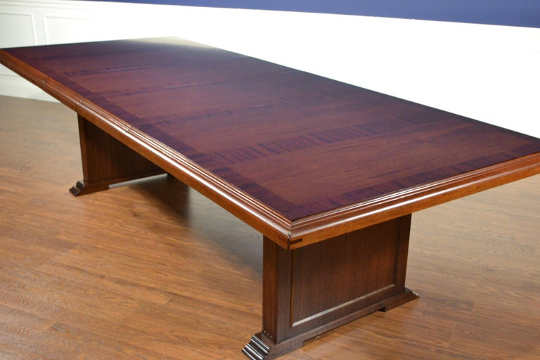 American Large Mahogany Rectangular Conference Table by Leighton Hall For Sale