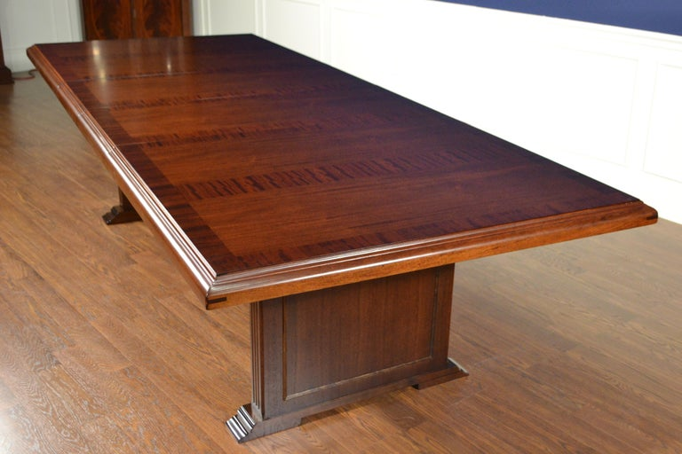 Large Mahogany Rectangular Conference Table by Leighton Hall In New Condition For Sale In Suwanee, GA