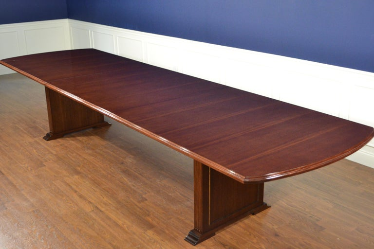 Large Mahogany Rectangular Pedestal Conference Table by Leighton Hall For Sale 4