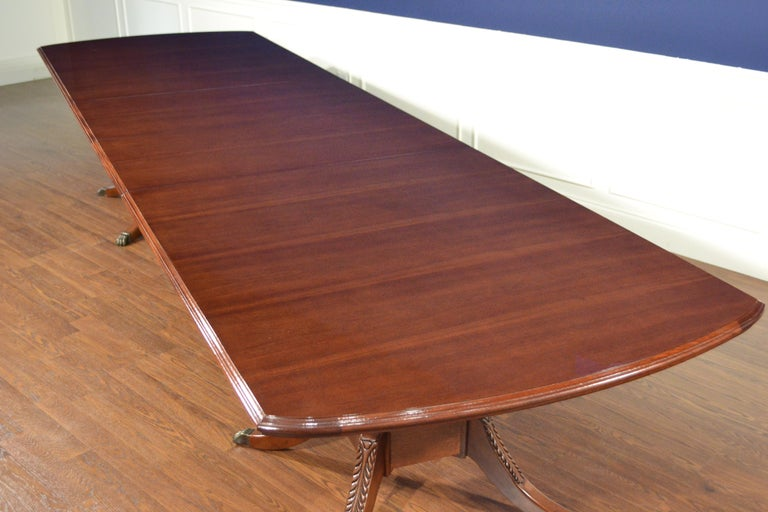 Large Mahogany Rectangular Pedestal Conference Table by Leighton Hall For Sale 5