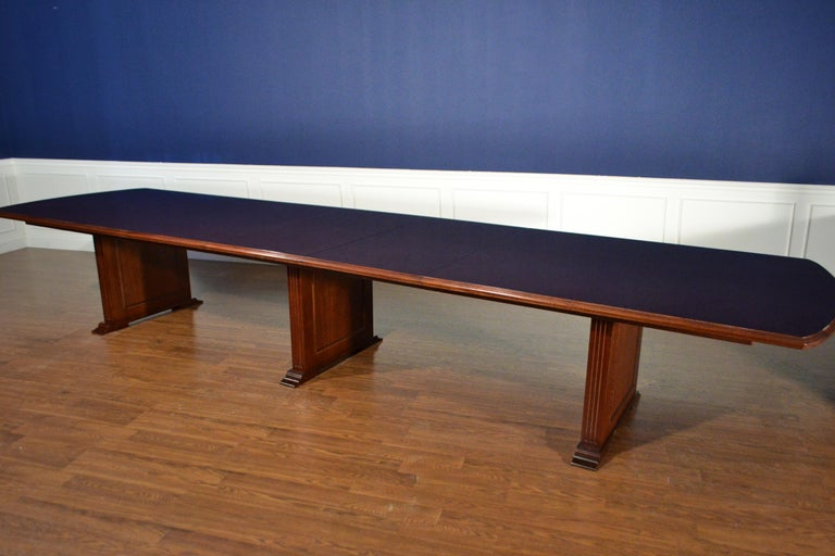 Modern Large Mahogany Rectangular Pedestal Conference Table by Leighton Hall For Sale