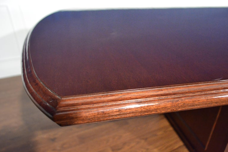 Large Mahogany Rectangular Pedestal Conference Table by Leighton Hall In New Condition For Sale In Suwanee, GA
