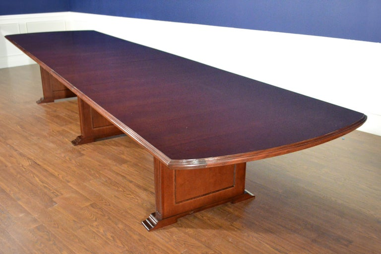 Large Mahogany Rectangular Pedestal Conference Table by Leighton Hall For Sale 1