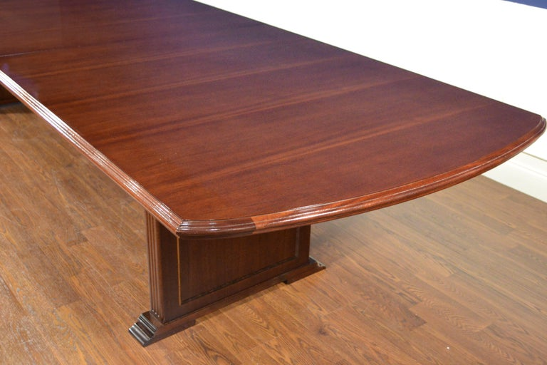 Large Mahogany Rectangular Pedestal Conference Table by Leighton Hall For Sale 2