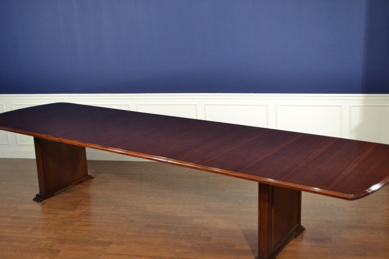 Large Mahogany Rectangular Pedestal Conference Table by Leighton Hall For Sale 3