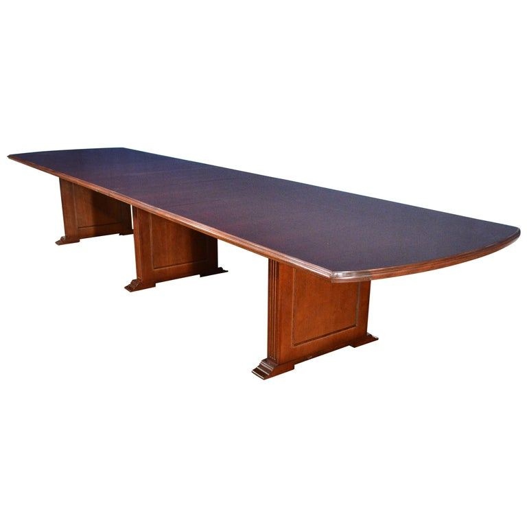 Large Mahogany Rectangular Pedestal Conference Table by Leighton Hall For Sale