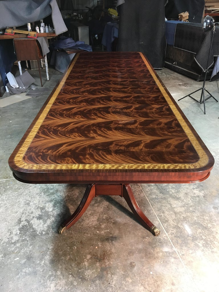 American Large Mahogany Regency-Style Banquet Dining Table by Leighton Hall For Sale