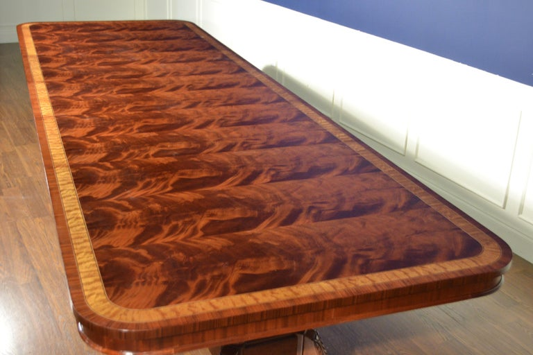 Large Mahogany Regency-Style Banquet Dining Table by Leighton Hall In New Condition For Sale In Suwanee, GA