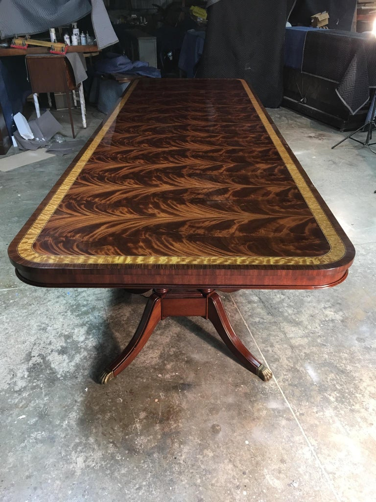 Large Mahogany Regency-Style Banquet Dining Table by Leighton Hall For Sale 3