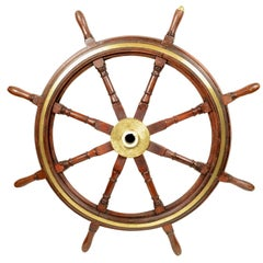 End 19th century Large Nautical Mahogany Rudder with Eight Spokes Bronze Hub UK