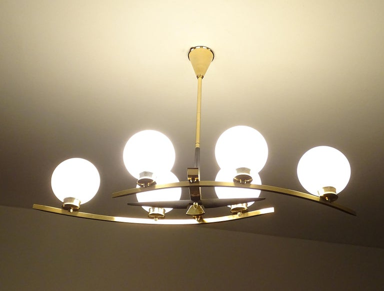 Large Maison Arlus Brass Chandelier Glass Globes Pendant Stilnovo Gio Ponti Era  For Sale 4