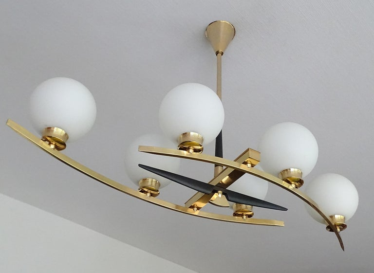 Large Maison Arlus Brass Chandelier Glass Globes Pendant Stilnovo Gio Ponti Era  For Sale 5