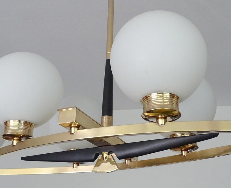 Large Maison Arlus Brass Chandelier Glass Globes Pendant Stilnovo Gio Ponti Era  For Sale 8