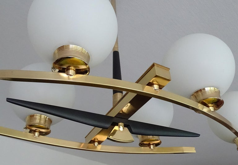 Large Maison Arlus Brass Chandelier Glass Globes Pendant Stilnovo Gio Ponti Era  For Sale 10