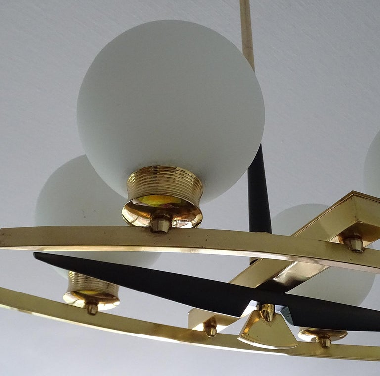 Large Maison Arlus Brass Chandelier Glass Globes Pendant Stilnovo Gio Ponti Era  For Sale 12