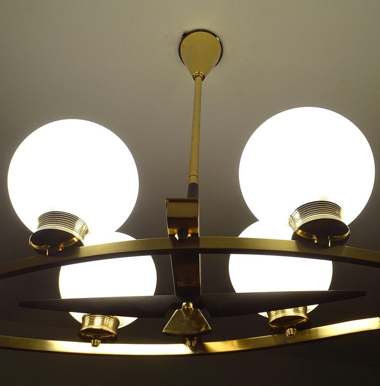 French Large Maison Arlus Brass Chandelier Glass Globes Pendant Stilnovo Gio Ponti Era  For Sale