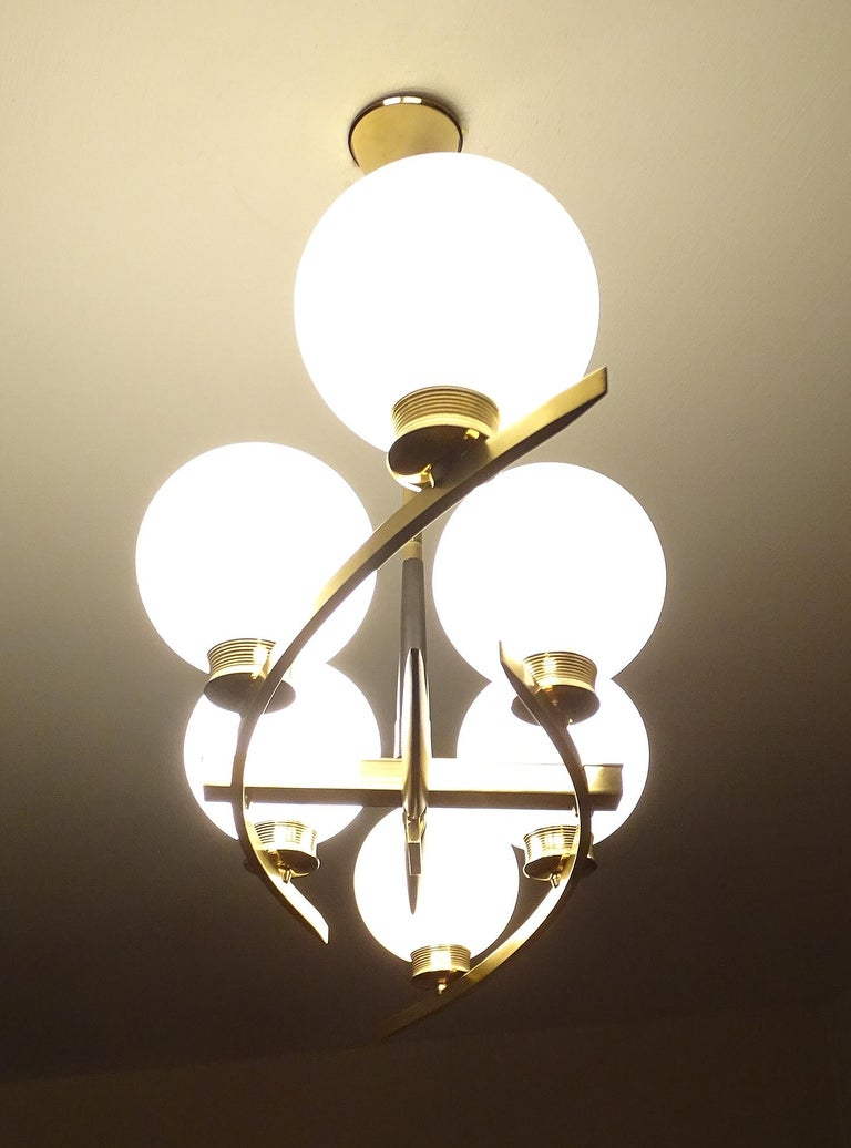 Mid-20th Century Large Maison Arlus Brass Chandelier Glass Globes Pendant Stilnovo Gio Ponti Era  For Sale