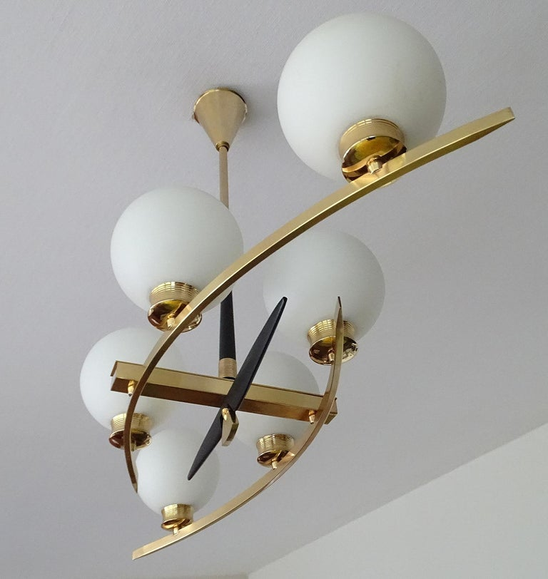 Large Maison Arlus Brass Chandelier Glass Globes Pendant Stilnovo Gio Ponti Era  For Sale 1