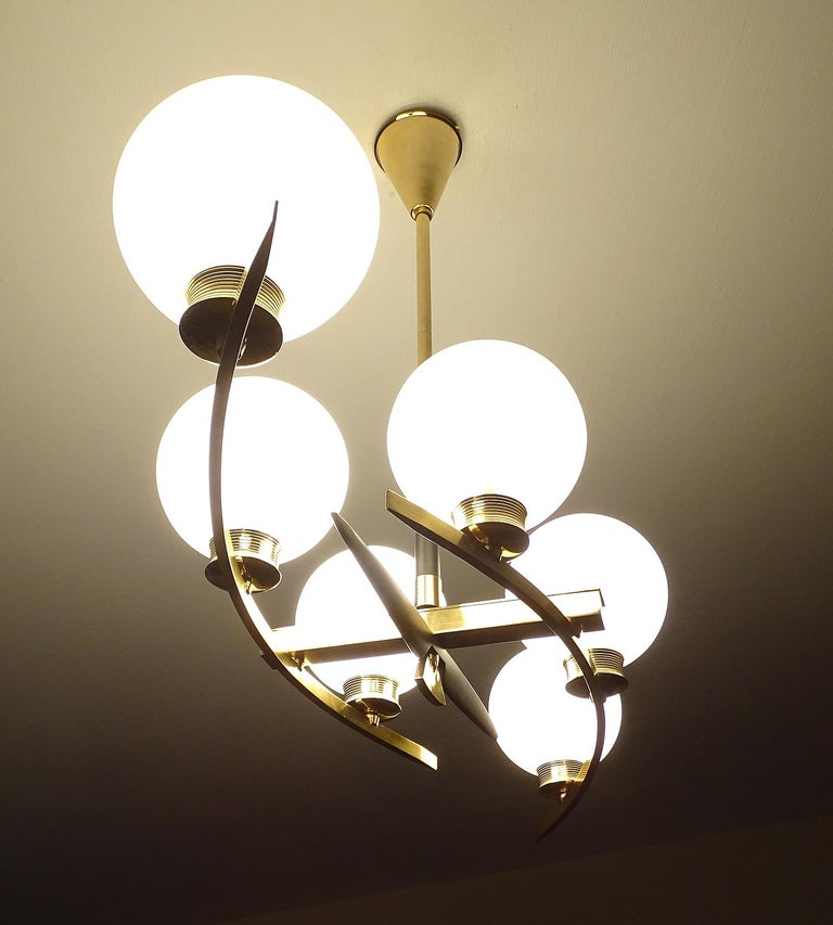 Large Maison Arlus Brass Chandelier Glass Globes Pendant Stilnovo Gio Ponti Era  For Sale 2