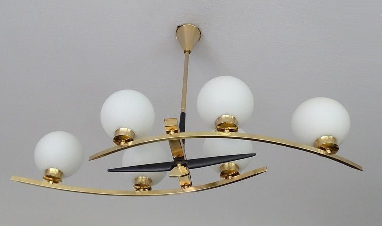 Large Maison Arlus Brass Chandelier Glass Globes Pendant Stilnovo Gio Ponti Era  For Sale 3