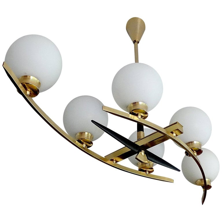 Large Maison Arlus Brass Chandelier Glass Globes Pendant Stilnovo Gio Ponti Era  For Sale