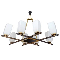 Large French Maison Arlus Brass Chandelier Glass Pendant, Stilnovo Gio Ponti Era