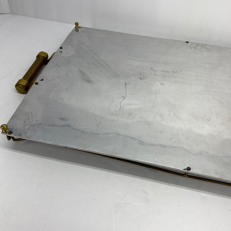 Large Maison Jansen Chrome Serving Tray with Brass Handles and Hardware For Sale 9