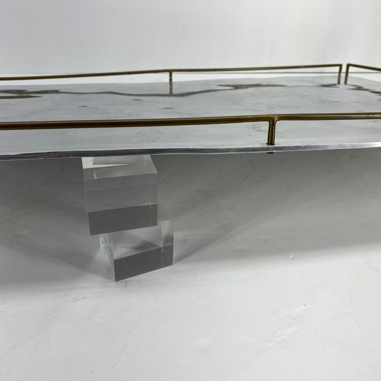 Large Maison Jansen Chrome Serving Tray with Brass Handles and Hardware For Sale 11