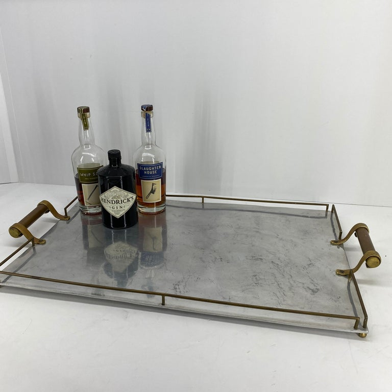 Mid-Century Modern Large Maison Jansen Chrome Serving Tray with Brass Handles and Hardware For Sale