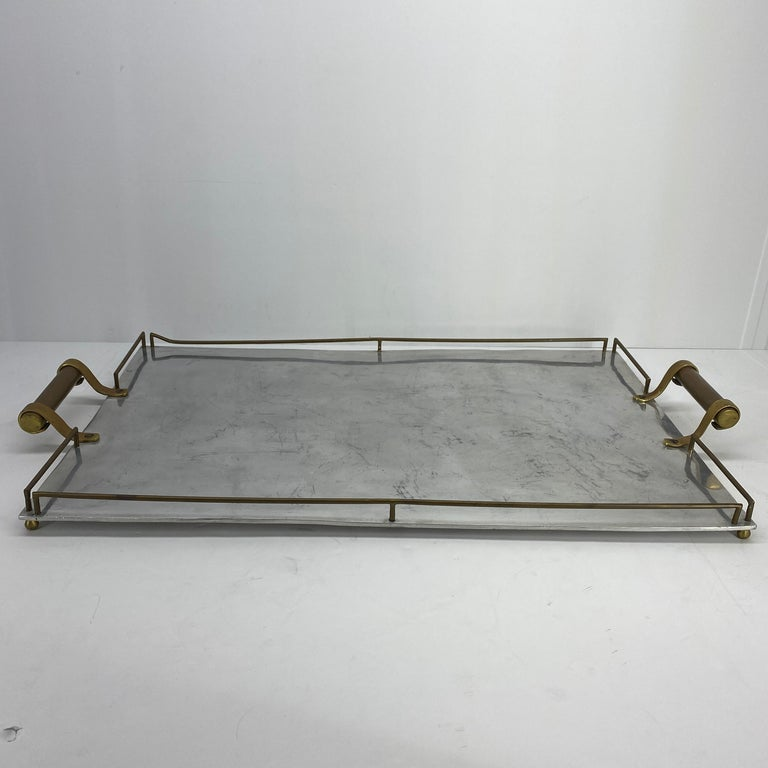 French Large Maison Jansen Chrome Serving Tray with Brass Handles and Hardware For Sale