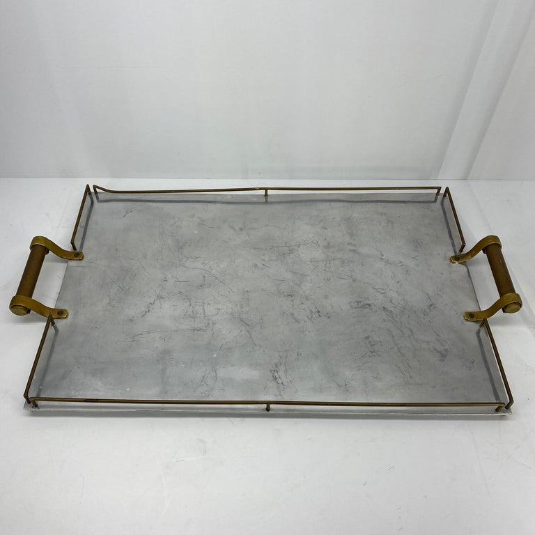 Large Maison Jansen Chrome Serving Tray with Brass Handles and Hardware In Good Condition For Sale In Haddonfield, NJ