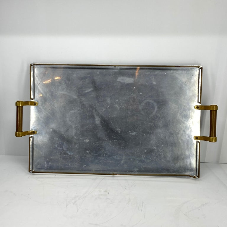 Large Maison Jansen Chrome Serving Tray with Brass Handles and Hardware For Sale 1