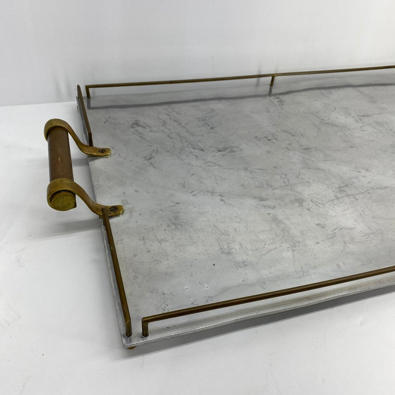 Large Maison Jansen Chrome Serving Tray with Brass Handles and Hardware For Sale 2