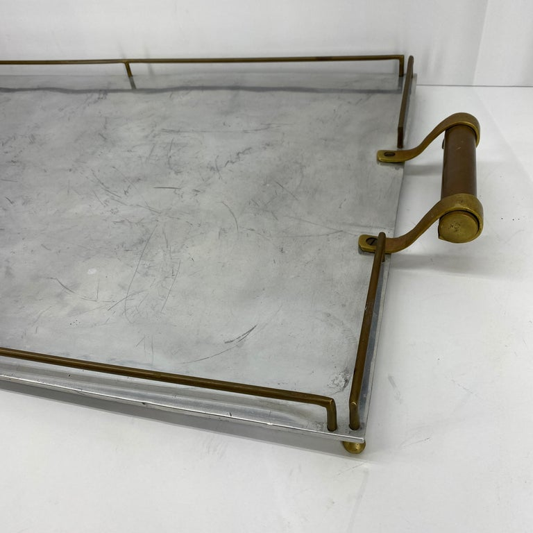 Large Maison Jansen Chrome Serving Tray with Brass Handles and Hardware For Sale 3