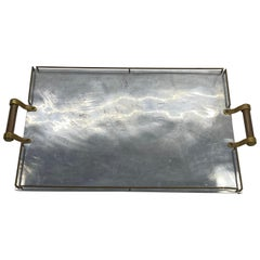 Large Maison Jansen Chrome Serving Tray with Brass Handles and Hardware