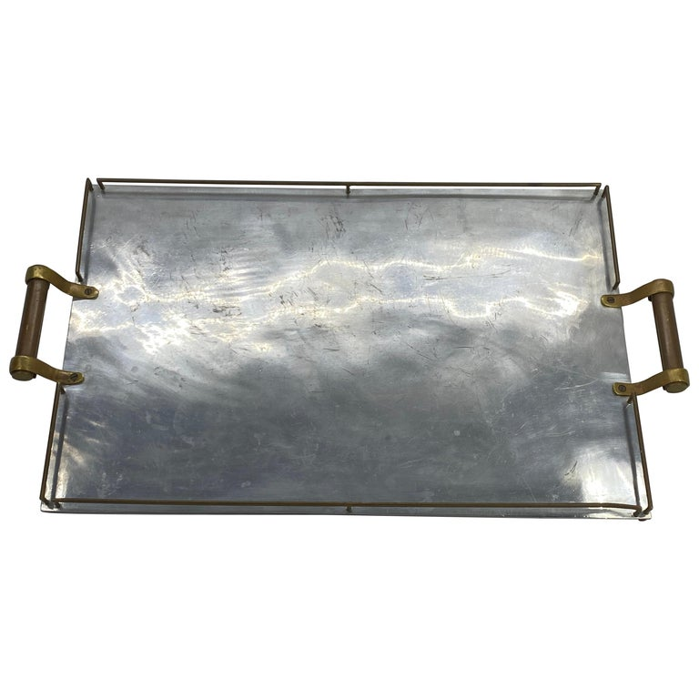 Large Maison Jansen Chrome Serving Tray with Brass Handles and Hardware For Sale