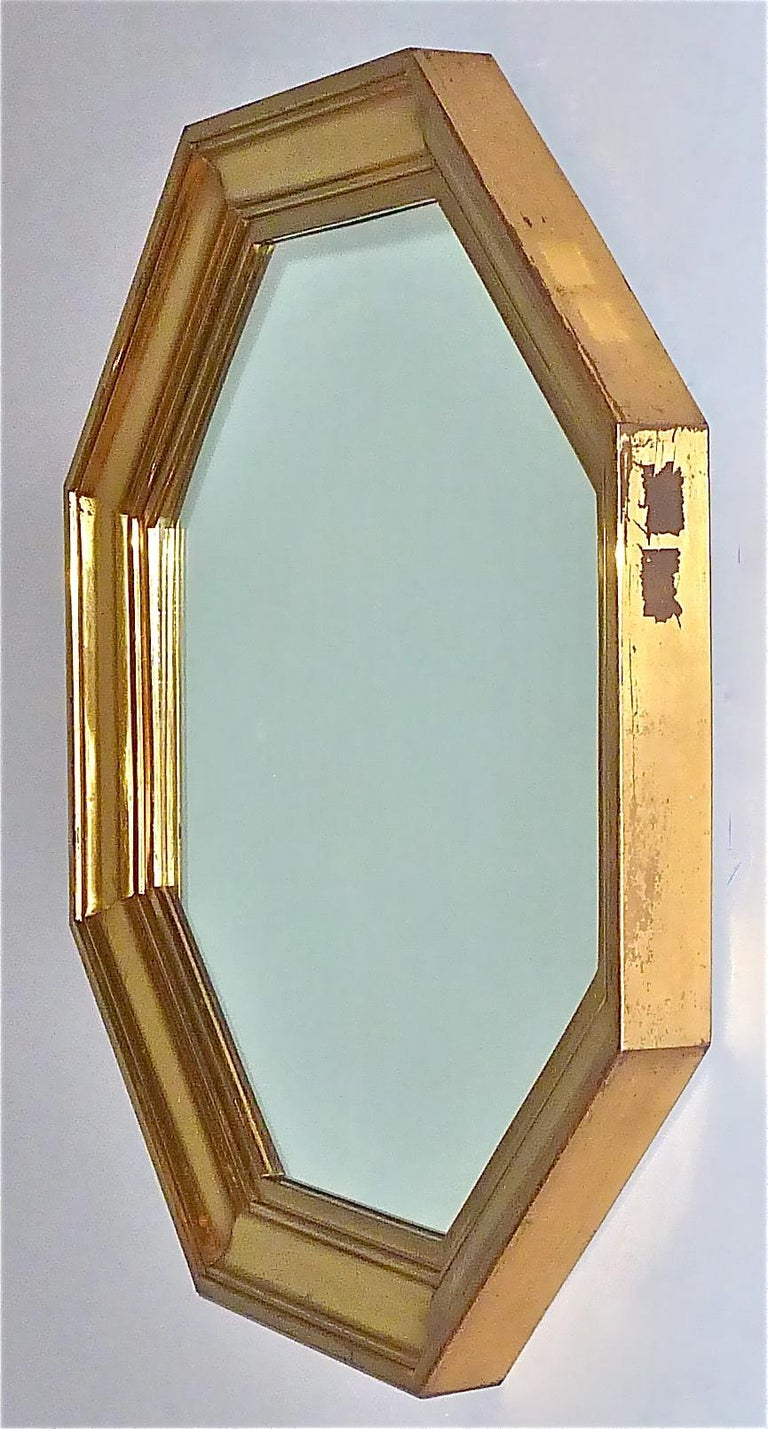 Large Maison Jansen Octagonal Patinated Brass Mirror Crespi Rizzo Style, 1970s For Sale 6