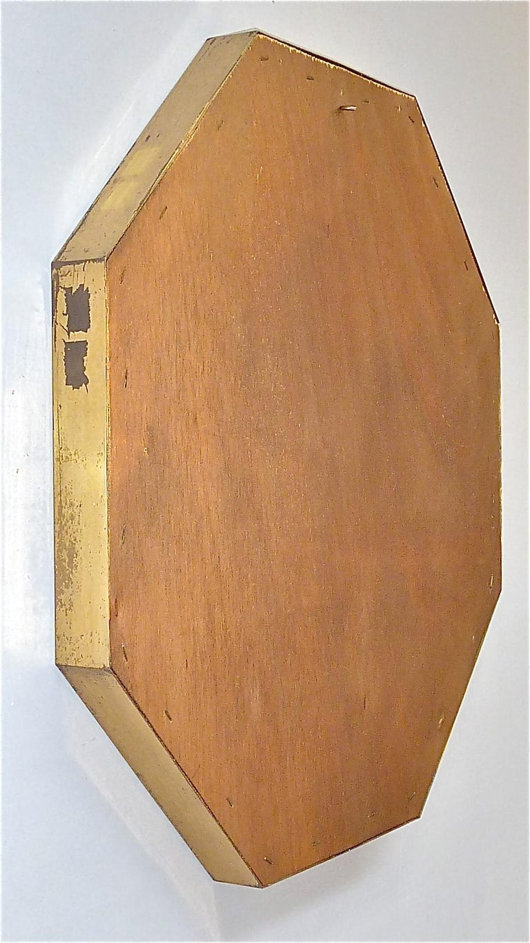 Large Maison Jansen Octagonal Patinated Brass Mirror Crespi Rizzo Style, 1970s For Sale 8