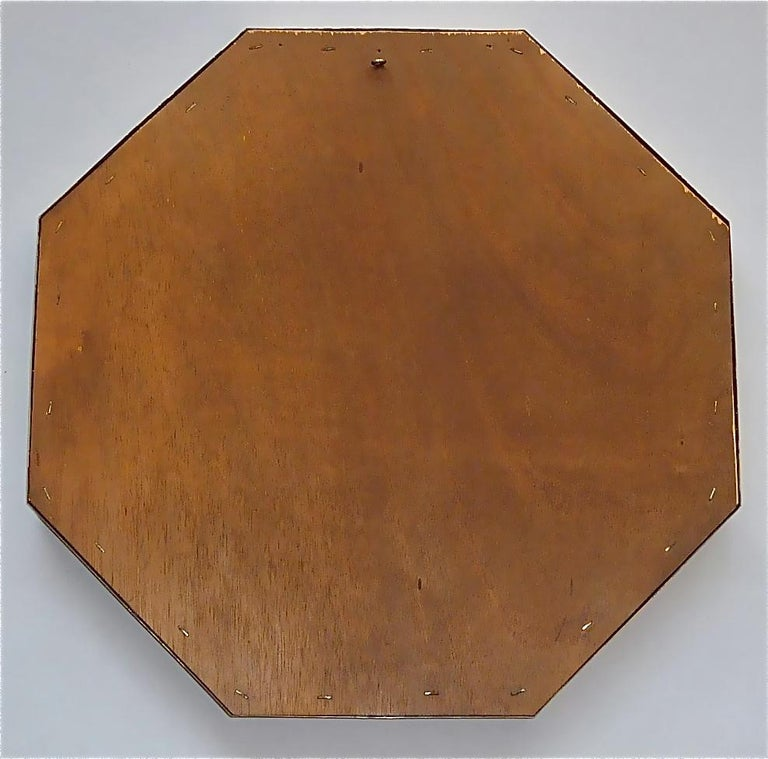 Large Maison Jansen Octagonal Patinated Brass Mirror Crespi Rizzo Style, 1970s For Sale 9
