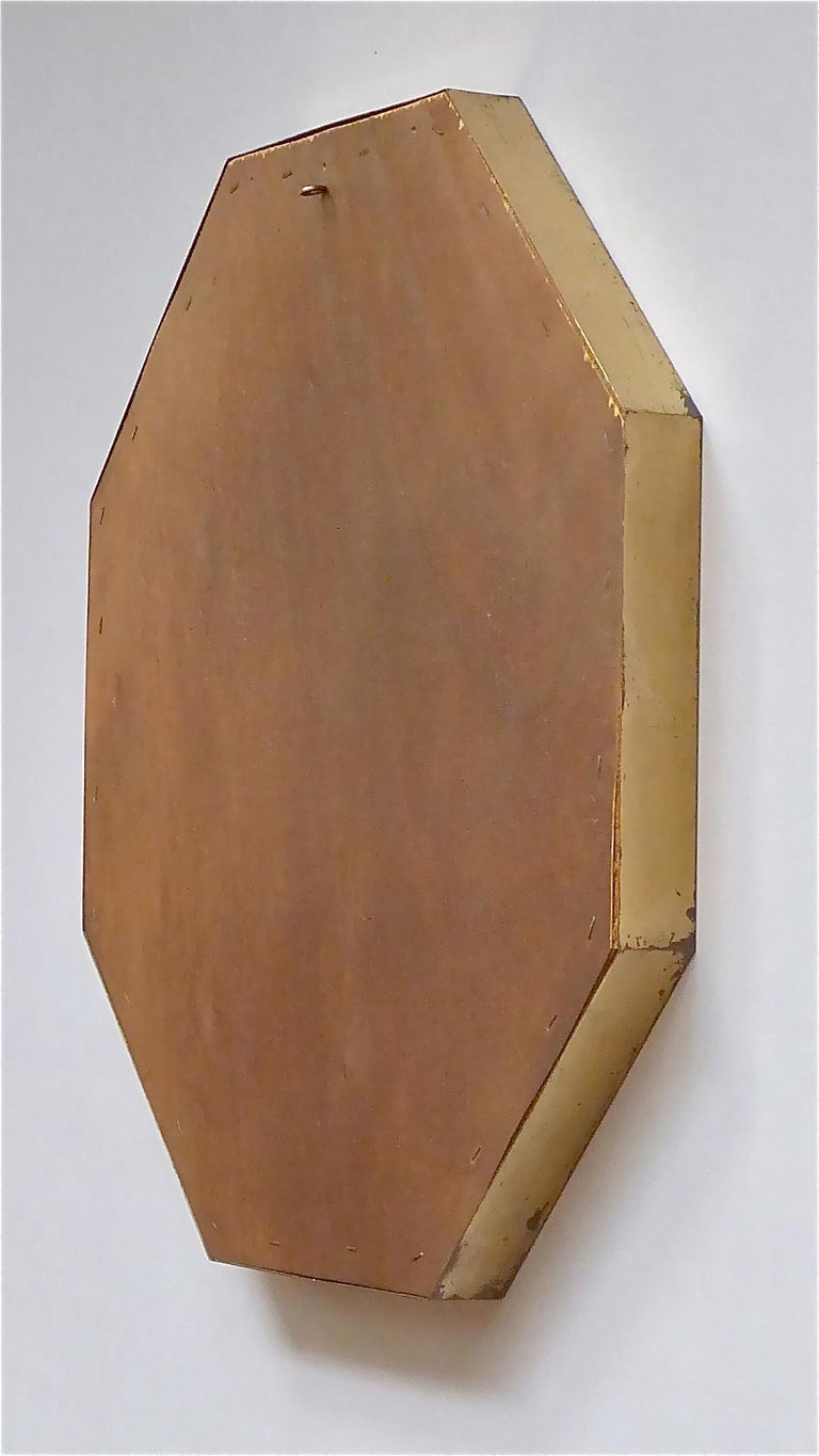 Large Maison Jansen Octagonal Patinated Brass Mirror Crespi Rizzo Style, 1970s For Sale 10