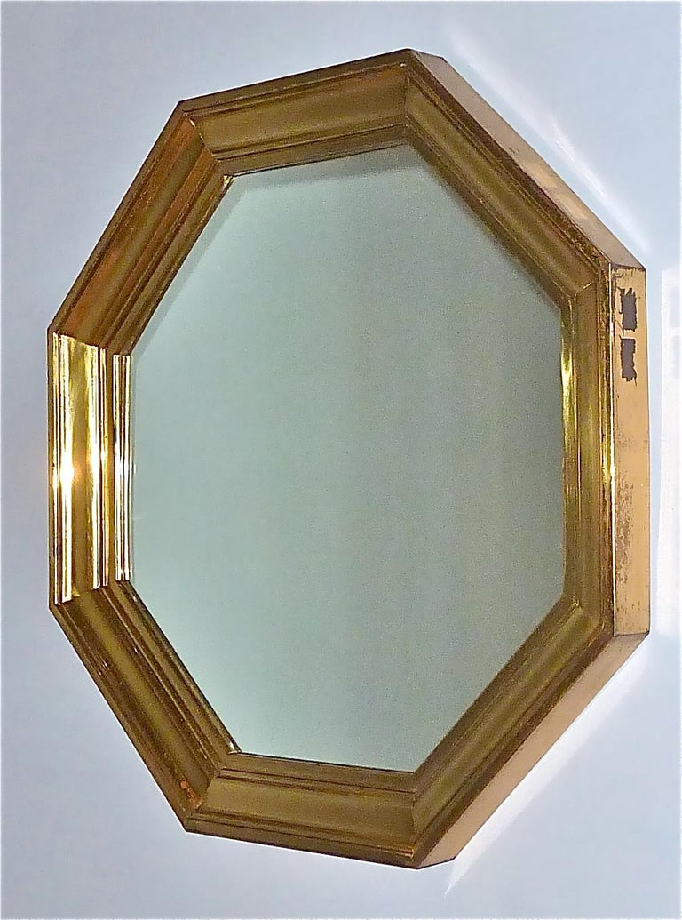 Large Maison Jansen Octagonal Patinated Brass Mirror Crespi Rizzo Style, 1970s For Sale 11