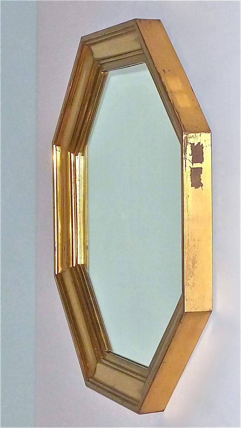 Large Maison Jansen Octagonal Patinated Brass Mirror Crespi Rizzo Style, 1970s For Sale 12