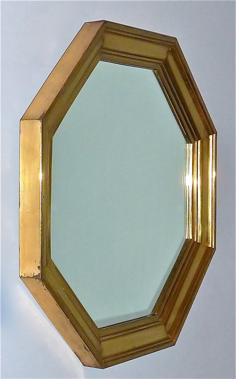 Large Maison Jansen Octagonal Patinated Brass Mirror Crespi Rizzo Style, 1970s For Sale 13